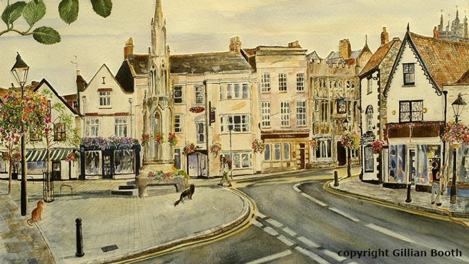 Painting of Market Cross, Glastonbury, by Gillian Booth